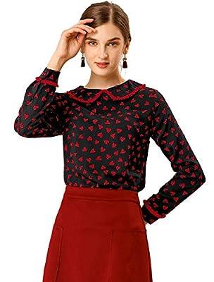 Allegra K Women's Cute Ruffle Peter Pan Collar Long Sleeve Sweet Casual Blouse Tops Large Black