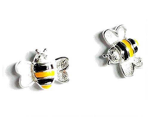 iszie jewellery sterling silver busy buzzing little bee enamel earrings,sweet girl earrings