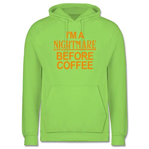 Halloween - I'm a Nightmare Before Coffee - orange - XS - Limonengrün - Verkleidung Kostüm - JH001 - Herren Hoodie und Kapuzenpullover für Männer