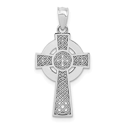 14k White Gold Irish Claddagh Celtic Knot Cross Religious Pendant Charm Necklace Iona Fine Jewelry For Women Gifts For Her