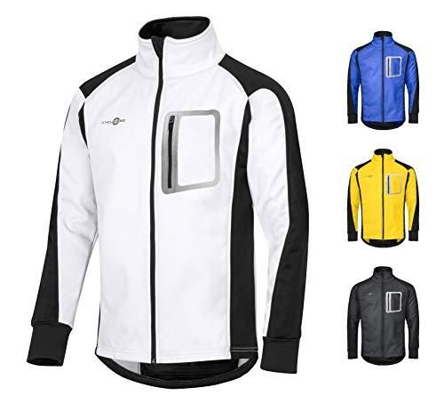 CYCLEHERO Winddichte Fahrradjacke wasserdicht atmungsaktiv reflektierend Softshell Jacke Outdoorjacke (Weiß, S)