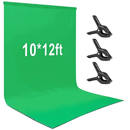 Fotohintergrund, Andoer 3 * 3,6 m grüne Fotografie Hintergrund Portraitfotografie Hintergründe Photo Studio Requisiten Robustes waschbares Material aus Polyester-Baumwolle mit 3 Hintergrundklemmen