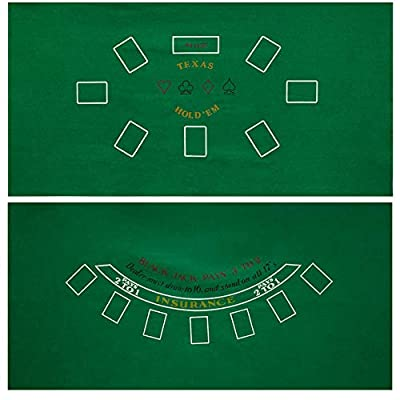 "GSE Games & Sports Expert 2-Sided 36""x72"" Blackjack and Texas Hold'em Casino Tabletop Felt Layout Mat"
