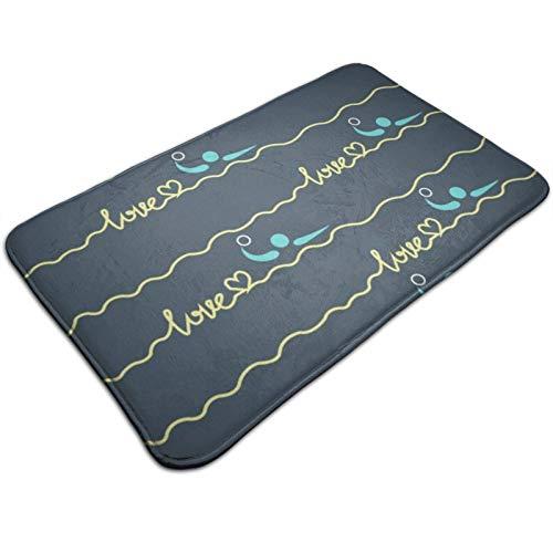 "NiYoung Soft Memory Foam Doormat Entrance Welcome Mat Floor Rug Non Slip Water Absorbent Bath Shower Rugs (19.5""x 31.5"", Love Water Polo Heart Best Mom Gift Prints)"