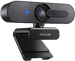 Jelly Comb 1080P HD Webcam mit Objektivdeckel, Streaming Webkamera mit Autofokus/Stereo Mikrofon für Computer, Skype,...