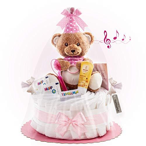 Timfanie® Windeltorte | Spieluhr LiebhabBÄR | 1-stöckig | rosa-punkt | Windeln Gr. 2 (Baby 4-8 Kg)