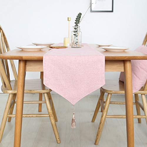 Hermosa Inicio Camino de Mesa Mantel Decorativo 2 Lados de algodón de Lino clásico Mesa de Cama Mat Comedor Partido decoración para casa (Color : Pink, Size : 30X180cm)