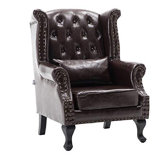 Warmiehomy - Sillón retro de piel sintética envejecida, respaldo alto, silla de salón con cojín para sala de estar, piel sintética, marrón oscuro, 80(W) x 85(D) x 108(H)
