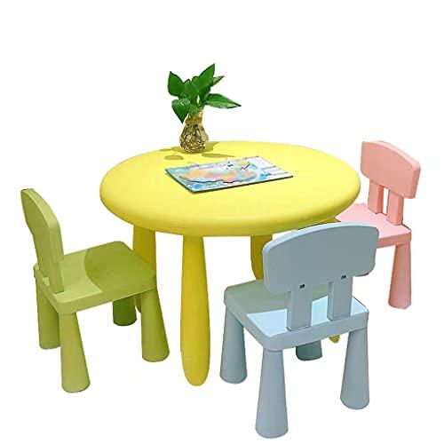 Actividad De Los Niños Conjunto De Mesa De Arte, Aclaramiento Multifuncional Redondo Personaje Para Niños Juego De Actividades De Juego, Ideal Para Artes, Artesanías, (Color:yellow table and 3 chairs)