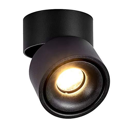 LANBOS 10W plafonnier spot LED downlight,Aangle du corps de lampe réglable, 3000K blanc chaud,Plafonnier d'intérieur,10*10*10cm /Noir