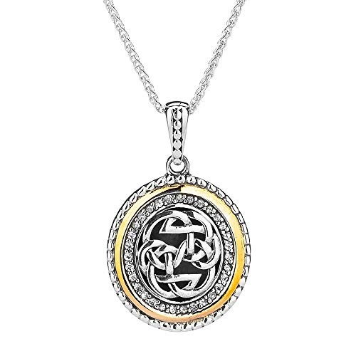 Keith Jack Jewelry, Celtic Lewis Knot - Path of Life Pendant Necklace, 925 Sterling Silver, 10k Gold & White Sapphires