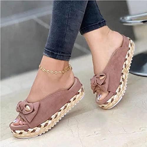 HUAPIN Zapatillas de Plataforma con tacón Inclinado para Mujer, Sandalias de Verano con Lazo en la Playa, Sandalias de un Pedal, Sandalias con Lazo de Paja y Suela de ratán a la Moda 37EU Pink
