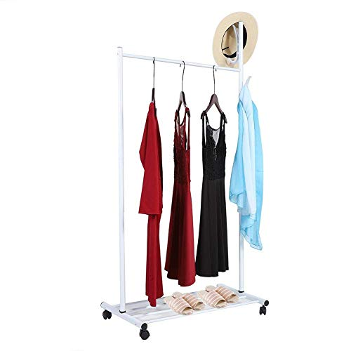 3-in-1 Multifunctional Iron Hanger Clothes Hanger Clothes Rack and Shoes Organizer and Hat Holder Mobile and Mobile Clothes Shelf on Wheels for Bedroom Living Room Silver 84 * 14 * 9