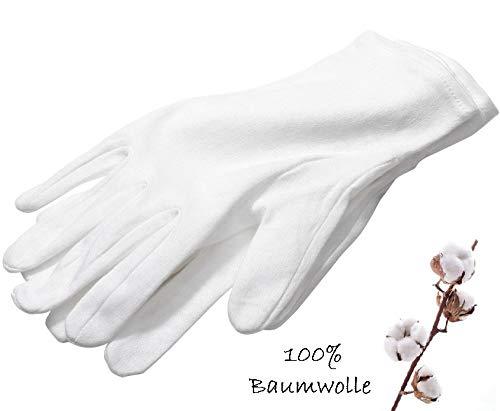 Baumwollhandschuhe Cotton Gloves für ECZEMA, QUALITÄT Zwirnhandschuhe aus 100% Baumwolle von PALESTREN ®, Weiche Trikothandschuhe, 3 Paar, weiß, Größe M