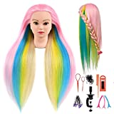 28' Upgrade Mannequin Head Hair Styling Training Head Multicolored Manikin Cosmetology Doll Head Synthetic Fiber Hair Training Model With Free Clamp (Pink Rainbow)