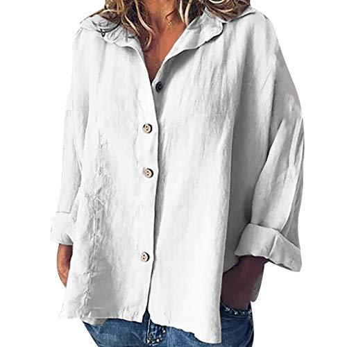 Shinehua Linnen blouse dames lange mouwen linnen shirt blouse casual herfst button down tops losse blouses zomer t-shirt feestelijke blousenshirts hemden elegante hemdblouse Large wit