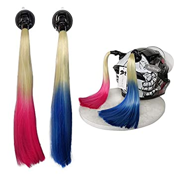 Hai Hong Pigtails for Helmet Gradient Ramp Helmet Ponytail with Suction Cup for Motorcycle Bike Ombre Color  Helmet Not Included