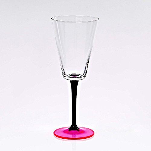 CRISTALICA Verre À Vin Gobelet À Vin Verre Römer Manhattan Rose Fluo Verre Cristal 240 ML