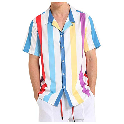 Xmiral Maglia Uomo Camicie a Maniche Corte a Righe a Maniche Corte Camicetta da Uomo Comfort Summer Top (3XL,1Blu)