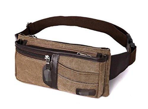 ZYT Occasionnel toile sacs à main extérieure téléphone cellulaire wallet pour hommes et femmes . brown