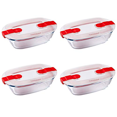 Pyrex Microwave Safe Classic Rectangular Glass Dish with Vented Lid 0.4L Red (Pack of 4)