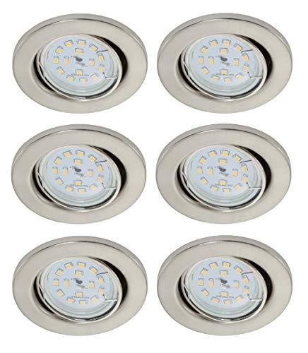 Trango 6er Set 6729-062MO LED Einbaustrahler in Edelstahl-Optik schwenkbar inkl. 6x 3000K warmweiß Ultra Flach LED Modul, Einbauspots, Deckenstrahler, Deckenlampe, Badleuchte, Wohnzimmer Deckenleuchte