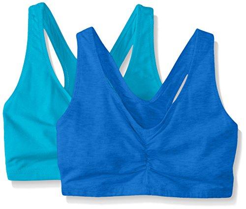 Hanes Women's Comfort-Blend Flex Fit Pullover Bra (Pack of 2),Aqua Blue,Large