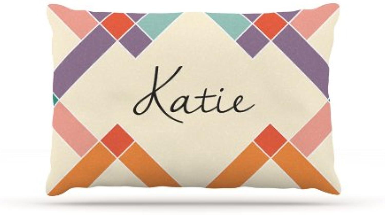 Kess InHouse Katie  colorful Geometry Name Fleece Dog Bed, 30 by 40Inch, Rainbow Tan