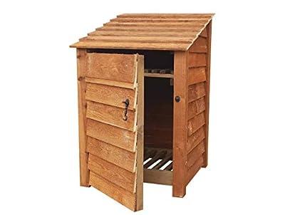 Arbor Garden Solutions Wooden Log Store With Door and Kindling Shelf 4Ft (0.9 cubic meter capacity) (W-79cm, H-126cm, D-81cm)