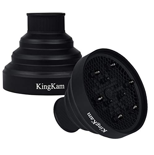 Universal Collapsible Hair Dryer Diffuser - Travel and Easy Storage - Fit Most of Hair Dryers KingKam-Black