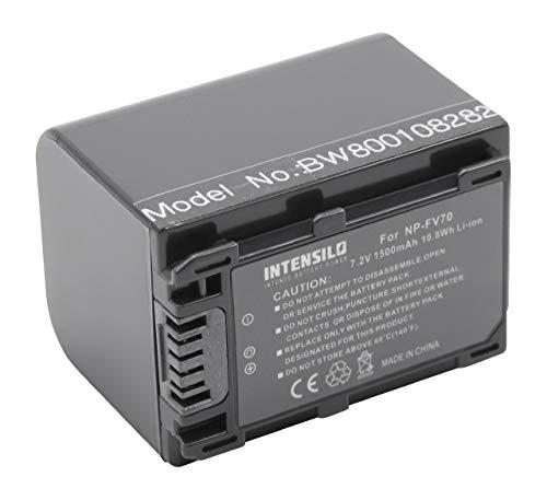 INTENSILO Li-Ion batteria 1500mAh (7.2V) per telecamera videocamera camcorder Sony FDR-AX100E, FDR-AX53, FDR-AXP33 come NP-FV70, NP-FV90, NP-FV100.