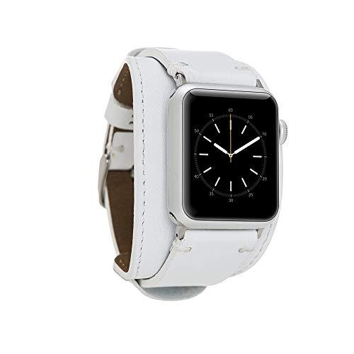 Renna - Pulsera de piel auténtica compatible con Apple Watch Serie SE, 6 y 5/4/3/2/1, hecha a mano, 44 mm, 42 mm, 40 mm, 38 mm, para hombre y mujer (42 – 44 mm, blanco, conector rojo)