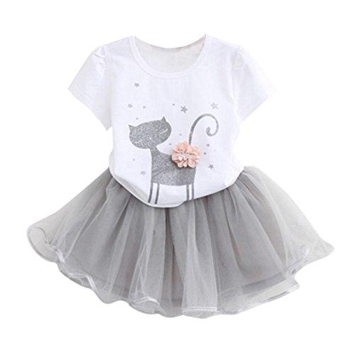 K-youth Vestido de niña, Vestido para Bebés Ropa Impresa de Camisa y del Vestido del Gato Muchacha Encantadora Ropa de Bebe niña Verano 2018 Barata (Blanco, 5-6 años)