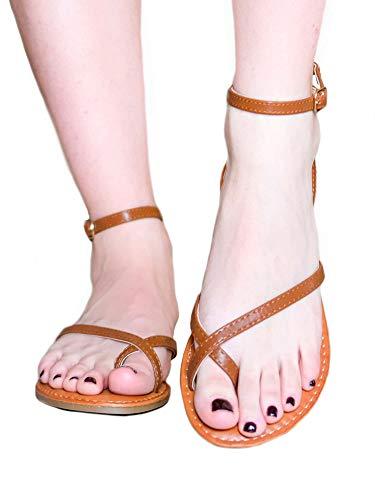 Sandalo bajo color cuero Minimal con anillo para dedo gordo Size: 39 EU