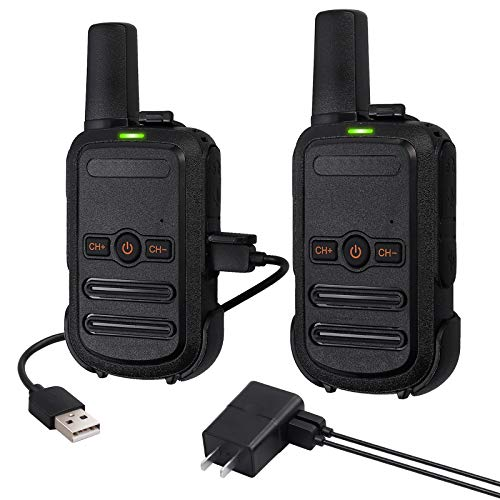 eSynic 2pcs Mini Walkie Talkie Rechargeable 16 Channel FRS462MHz Two-Way Radio Lock Vox Handsfree Ski Walkie Talky USB Charging Wireless Radios for Kids Adults