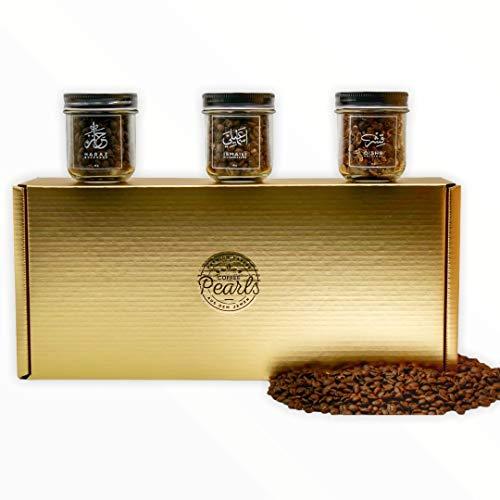 COFFEE PEARLS Kaffee Geschenkbox | Geschenkidee | Premium-Kaffee aus dem Jemen | 100 % Arabica | 3-facher Genuss - Yemen Trilogie: Haraz, Ismaili & Qishr | Ganze geröstete Bohnen
