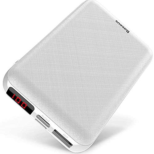 XYY Mini 10000Mah Power Bank Portable Type C Charging Charger 10000 Powerbank External Battery Poverbank for Iphone, Samsung Galaxy, Tablets And More,White