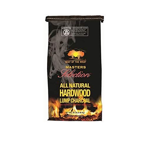 Best of the West Masters Selection 20 Pound Bag All Natural Hardwood Lump Charcoal for Grilling, Smoking, and Outdoor Cooking