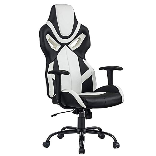 Ergonomic Office Chair PC Gaming Chair Desk Chair PU Leather Racing Chair Executive Computer Chair Swivel Rolling Chair with Lumbar Support for Women, Men White chair gaming white