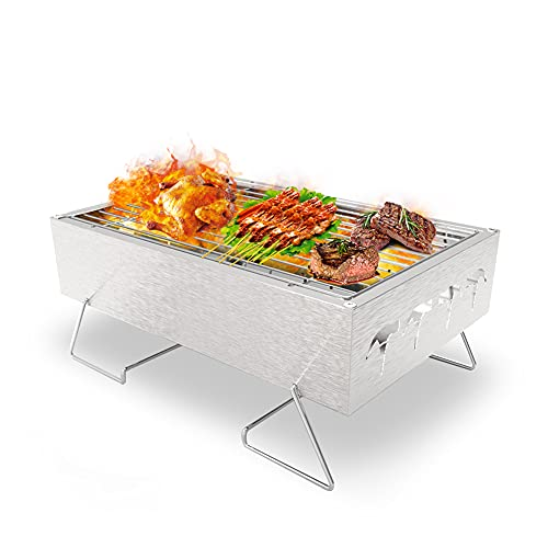 Picknickgrill Edelstahl Holzkohlegrill Kleiner Grill Portable Campinggrill Abnehmbare BBQ Grills für Outdoor Garten Party usw. (30 x 20 x 13 cm)