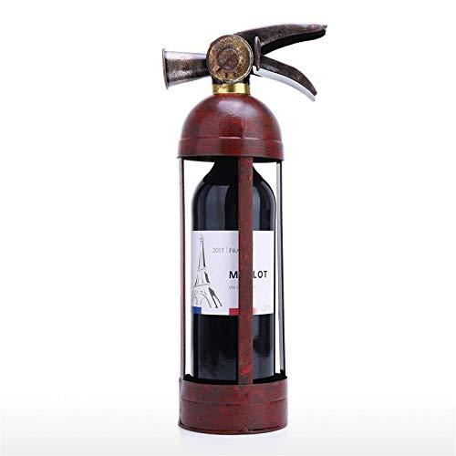Metal Crafts Extintor forma vino estante mesa creativo vino estante robusto hierro material metal estatua ornamento