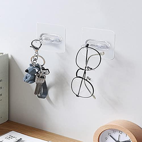 Multifunctional Self-Adhesive Hooks, Shower Gel Bottle Rack Hook Bracket Bathroom Wall Magic, Transparent Waterproof Round Hook No Drilling...