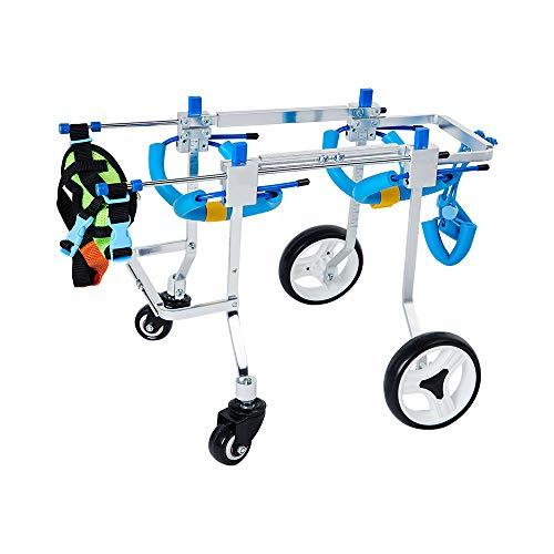 KEBY 4 Ruote Sedia a rotelle Cani Scooter, Biciclette per Animali Domestici Sedia a rotelle disabili Animali Domestici Ausiliario Disabili Paralizzato Regolabile (XS)