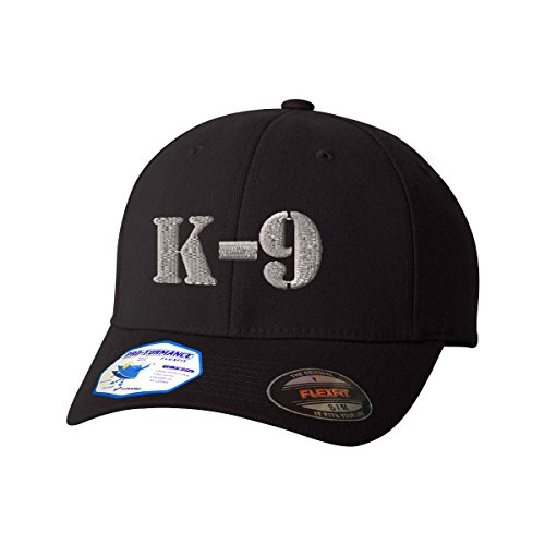 K-9 Silver Logo Flexfit Adult Pro-Formance Branded Hat Black Small/Medium