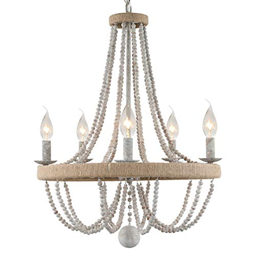 """French Country Chandelier for Dinning Room, Wooden Bead Tassel Farmhouse Chandelier, Hemp Ropes Wrap on Circle, Hanging Pendant Light,Rustic 5- Light Rope Chandelier,20""""in Diameter"""