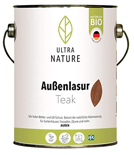 ULTRA NATURE Außen Lasur, 2,5L, Teak, Vegan, Natürlich Bio, Lösemittelfrei, Holzschutzlasur