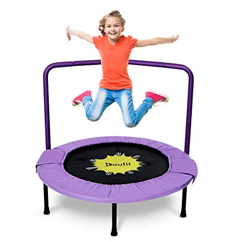 Doufit Trampoline for Kids with Handle Bar, TR-04 Children Mini Foldable Fitness Rebounder Trampoline for Indoor and Outdoor Exercise(Max Load 220lbs)