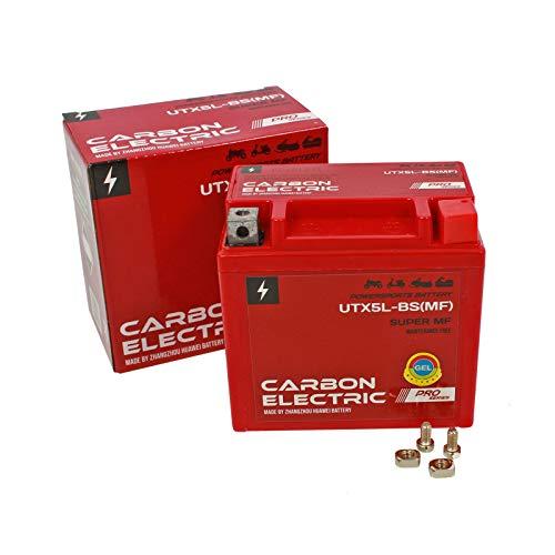 Carbon Electric UTX5L-BS GEL Batterie Rollerbatterie 12V 5Ah Vorgeladen Versiegelt Wartungsfrei vergleichbar YTX5L-BS YB4L-B YTX4-BS