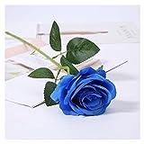 Flores artificiales Falso 10pcs artificiales de Rose Rose Ramo de la boda decoración del hogar plástico de la flor secada florece el ornamento decorativo matrimonio Toque real ( Color : 11pcs Blue )