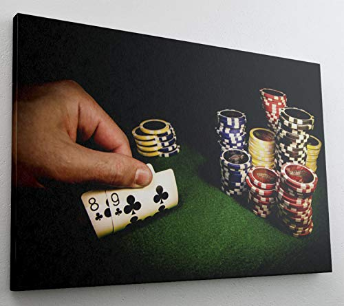 Poker Chips Glücksspiel Casino Leinwand Bild Wandbild Kunstdruck L0612 Größe 70 cm x 50 cm